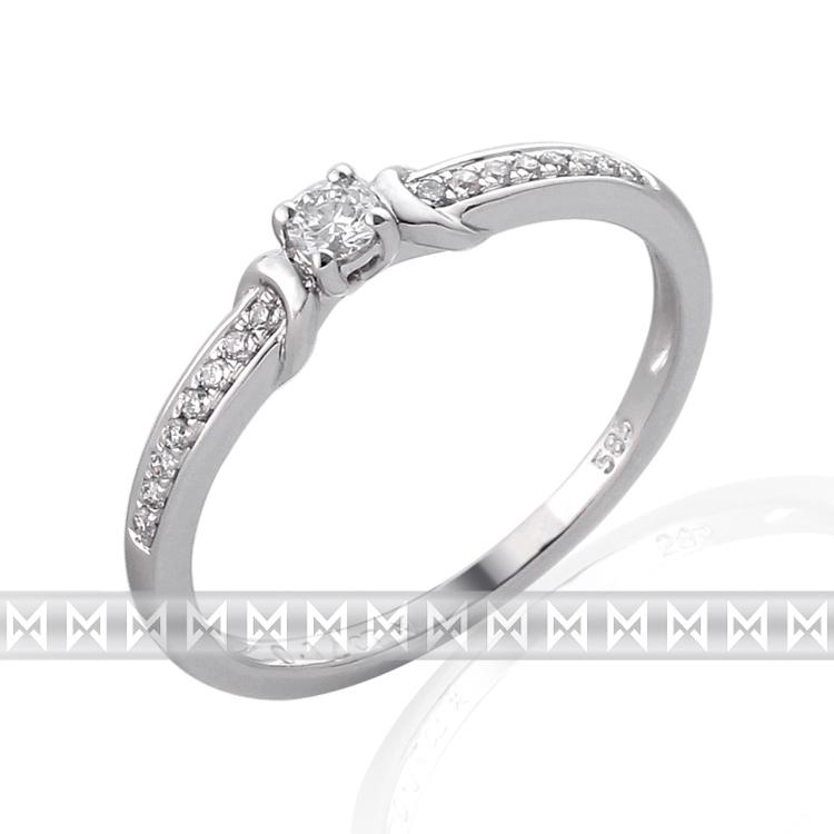 Zásnubní prsten s diamantem Briline, bílé zlato brilianty 3860836-0-54-99