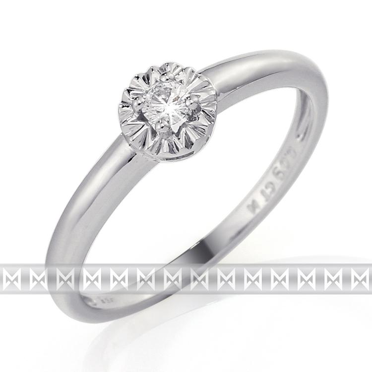 Zásnubní prsten s diamantem Briline, bílé zlato brilianty 3861323-0-56-99
