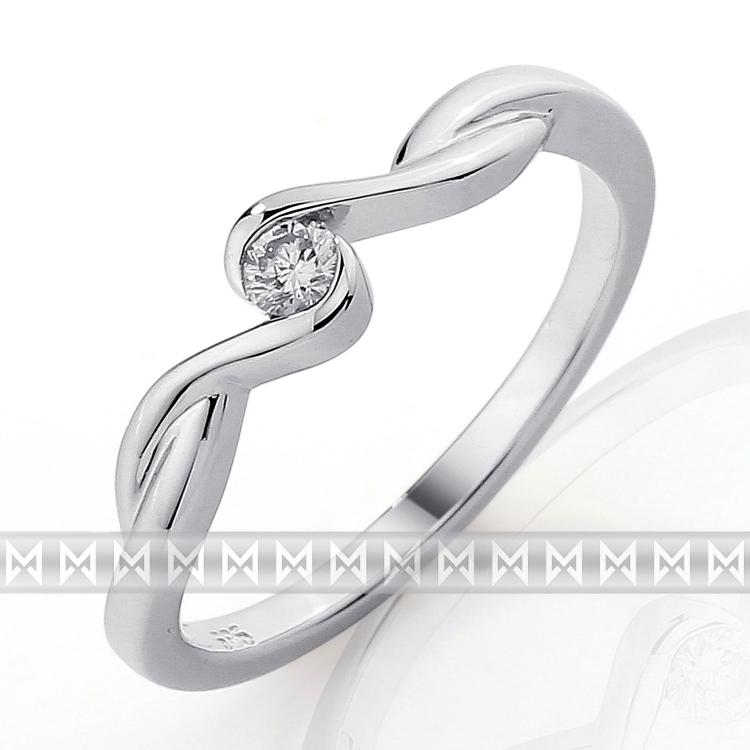 Zásnubní prsten s diamantem Briline, bílé zlato brilianty 3860045-0-51-99