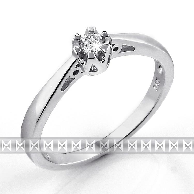 Zásnubní prsten s diamantem Briline, bílé zlato brilianty 3861310-0-51-99