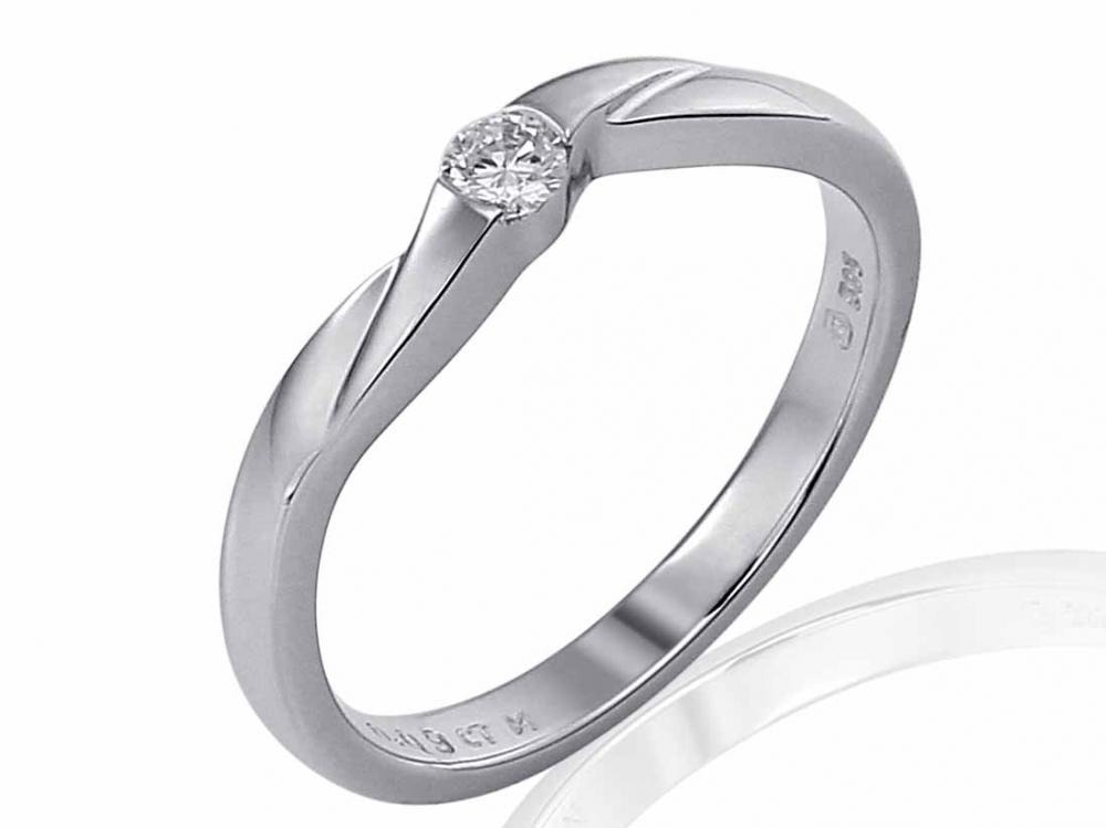 Zásnubní prsten s diamantem Briline, bílé zlato brilianty 3860394-0-52-99