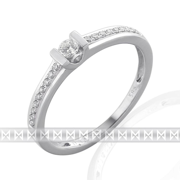 Zásnubní prsten s diamantem Briline, bílé zlato brilianty 3860831-0-51-99