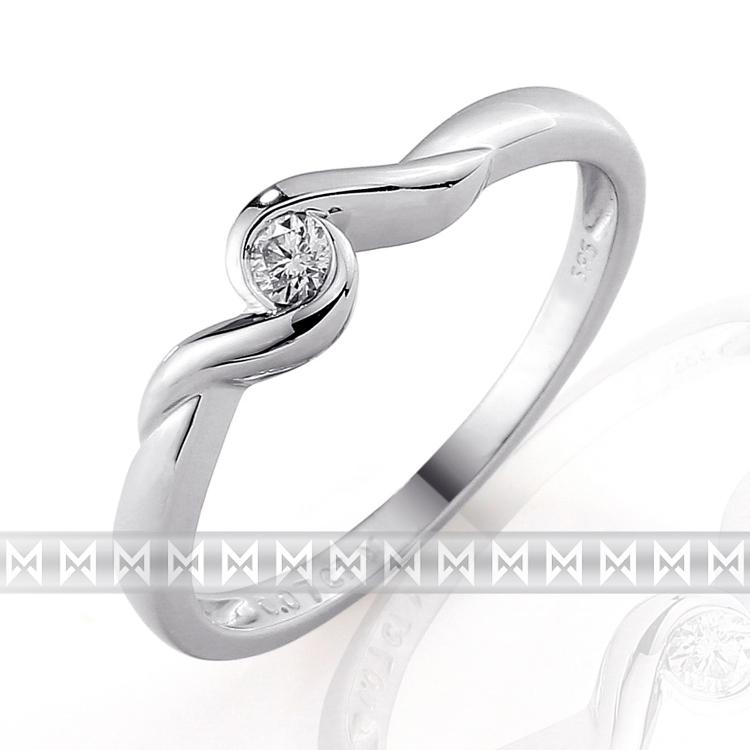 Zásnubní, dívčí prsten s diamantem Briline, bílé zlato brilianty 3860037-0-51-99