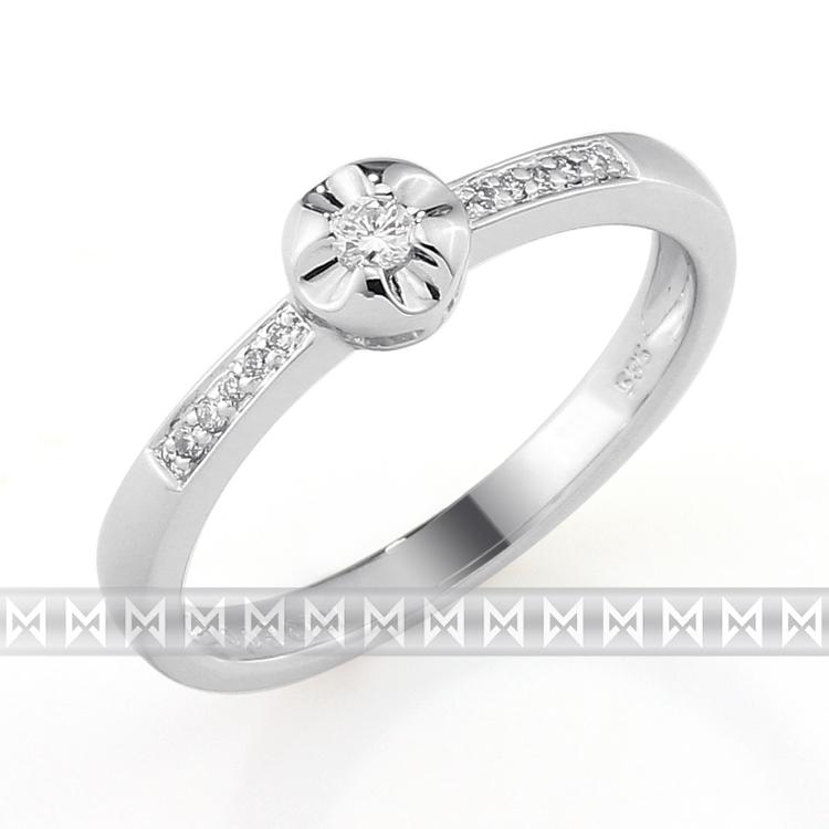Zásnubní prsten s diamantem Briline, bílé zlato brilianty 3861276-0-54-99