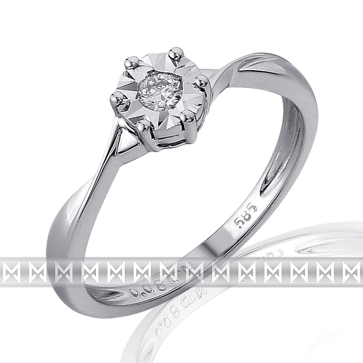 Zásnubní prsten s diamantem Briline, bílé zlato brilianty 3861664-0-52-99