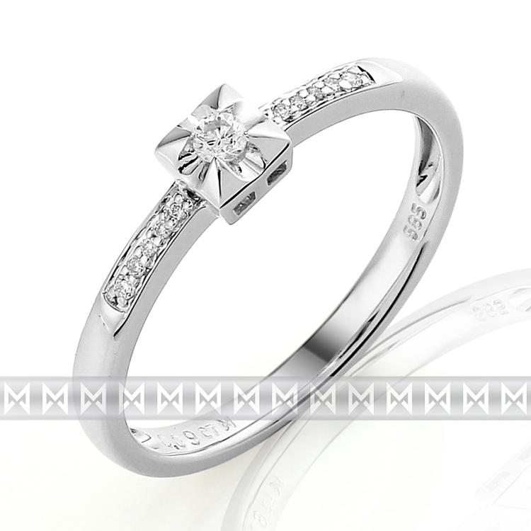 Zásnubní prsten s diamantem Briline, bílé zlato brilianty 3861289-0-53-99