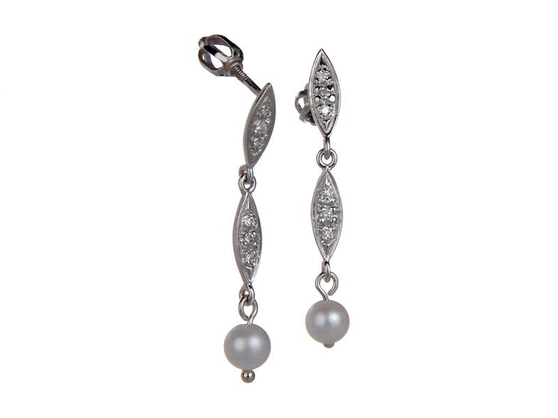 Diamantové náušnice s perlou Briline 38607