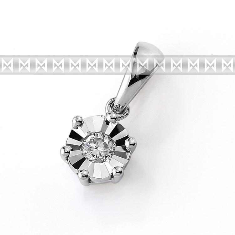 Přívěsek s diamantem, bílé zlato brilianty 3870378-0-0-99