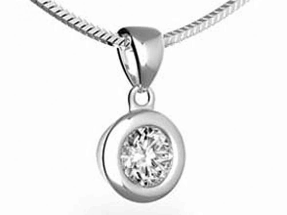Přívěsek s diamantem, bílé zlato brilianty 3870004-0-0-99