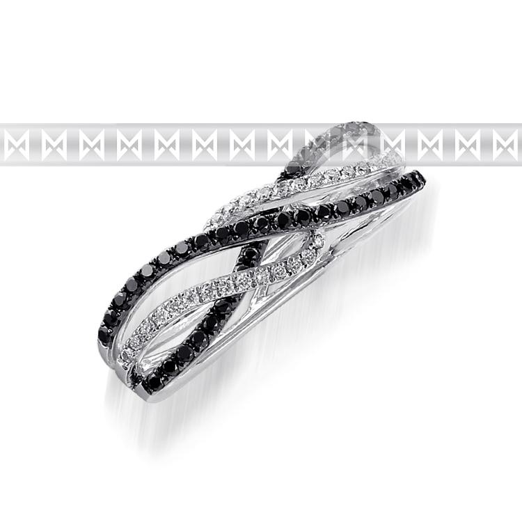 Přívěsek s diamantem, bílé zlato brilianty a černé brilianty 3870477-0-0-97