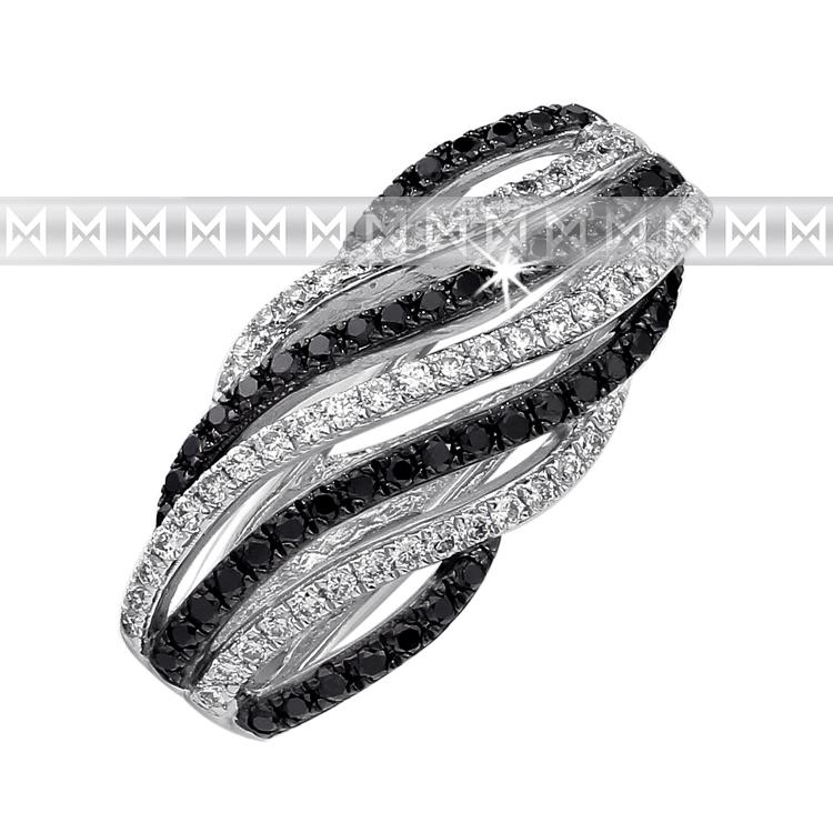 Přívěsek s diamantem, bílé zlato brilianty a černé brilianty 3870475-0-0-97