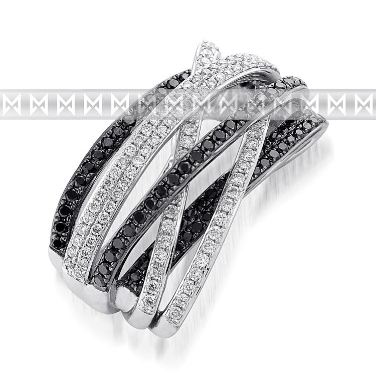 Přívěsek s diamantem, bílé zlato brilianty a černé brilianty 3870462-0-0-97