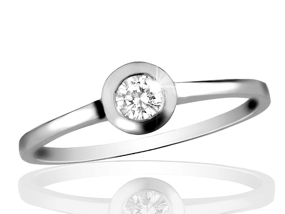 Zlatý prsten s diamantem Briline 10-80