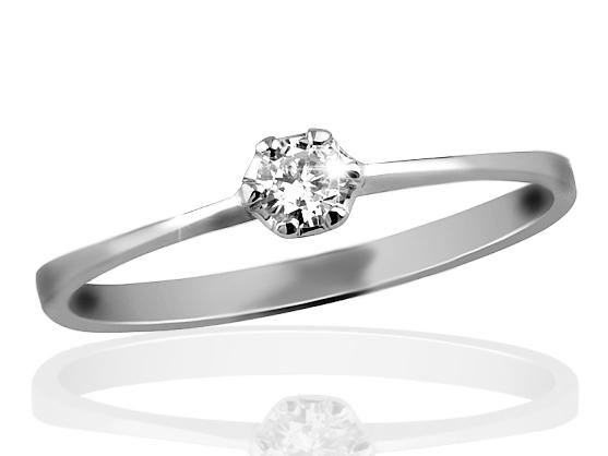 Zlatý prsten s diamantem Briline 09-90a