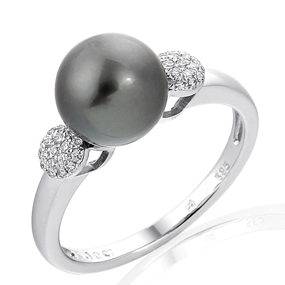 Diamantový prsten Briline s černou perlou Tahity 3860949