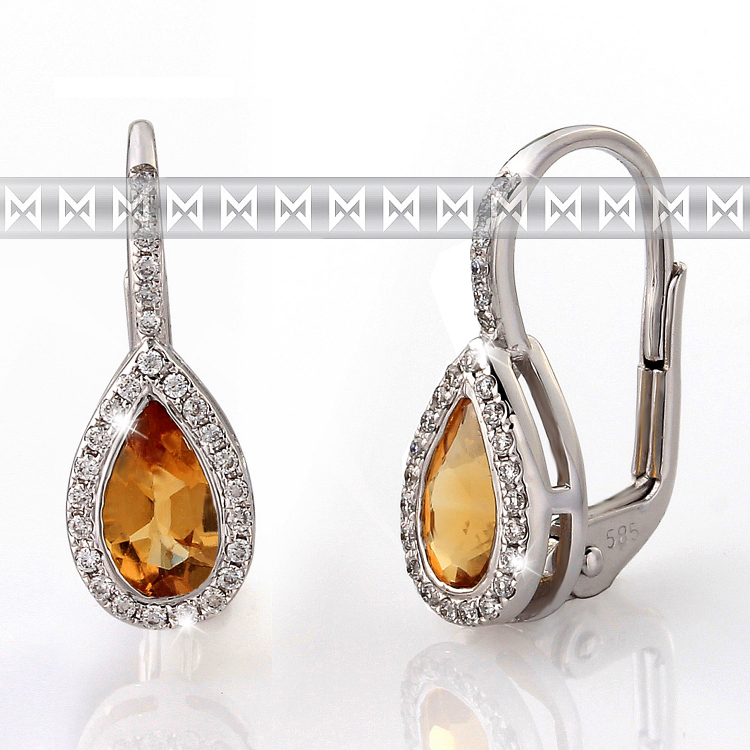 Náušnice s diamanty a citrínem 388-0804-citrín
