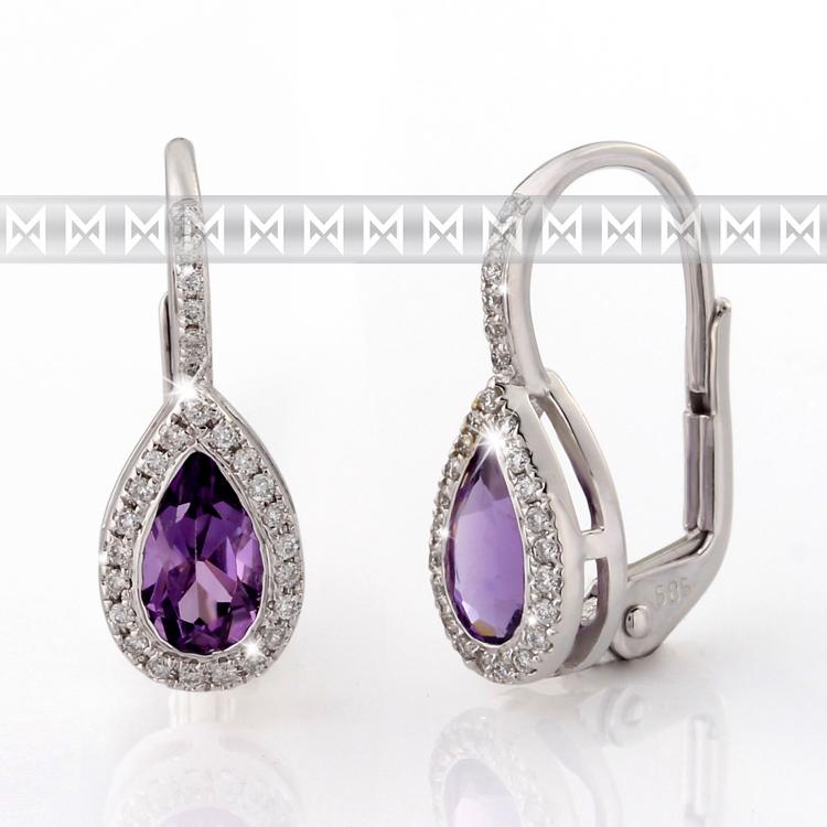 Náušnice s diamanty a ametystem Briline 388-0800