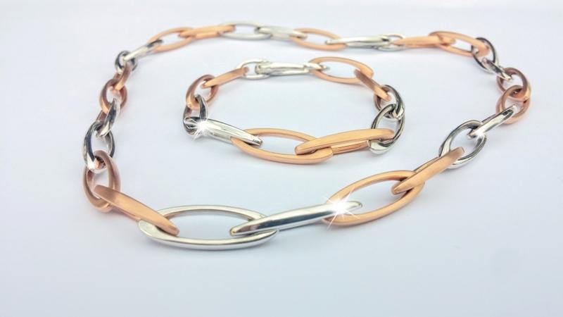 Novinka - luxusní souprava náhrdelník a náramek růžové a bílé zlato Briline100s