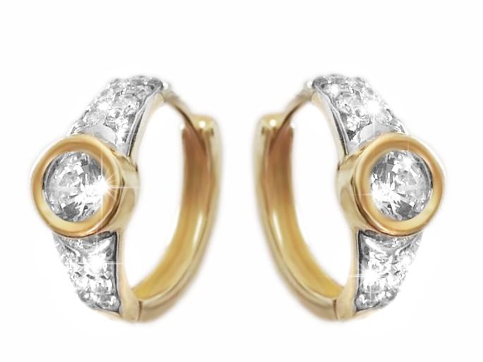 Zlaté náušnice kroužky se zirkony Briline 1231048.5
