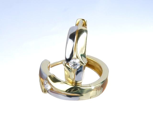 Zlaté náušnice kroužky se zirkony Briline n3