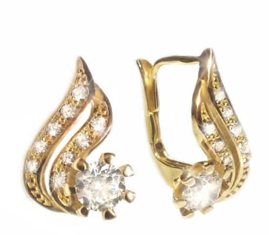 52b87073c Elegantní zlaté náušnice Briline se zirkony 23900100529   Zásnubní a ...