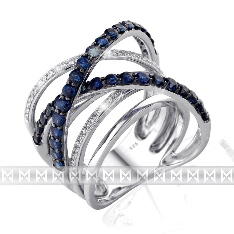 Diamantový prsten se safíry Briline 3861513
