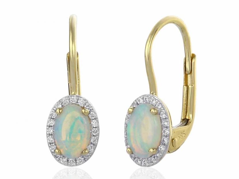 Zlaté náušnice s opály a diamanty Briline M-3830990