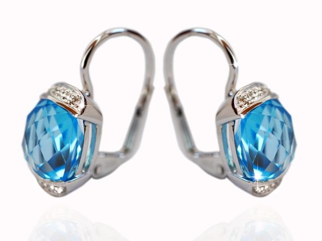 4de42cb65 Náušnice s diamanty blue topaz Briline 388-0326.0.00.93