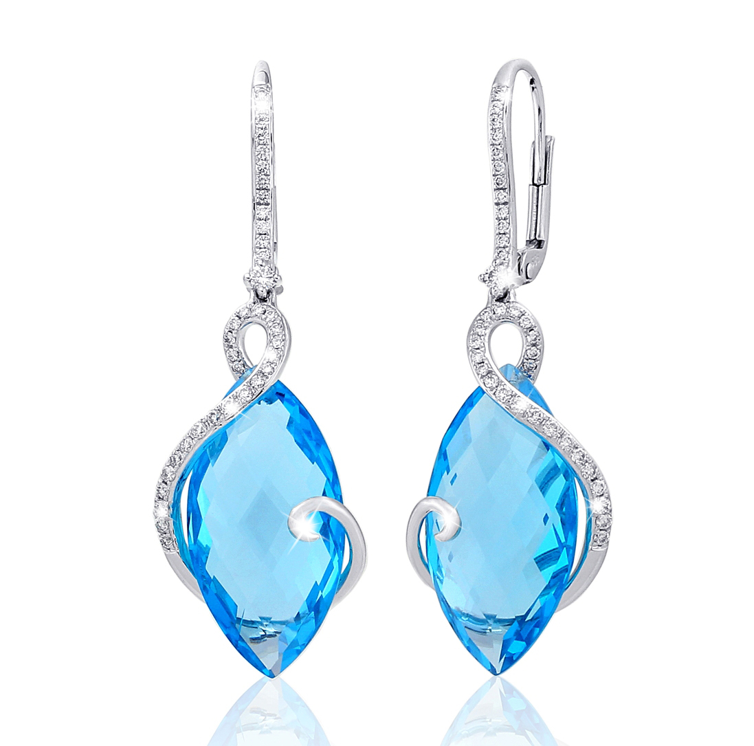 5b43a69da Náušnice s diamanty blue topaz Briline 388-0830