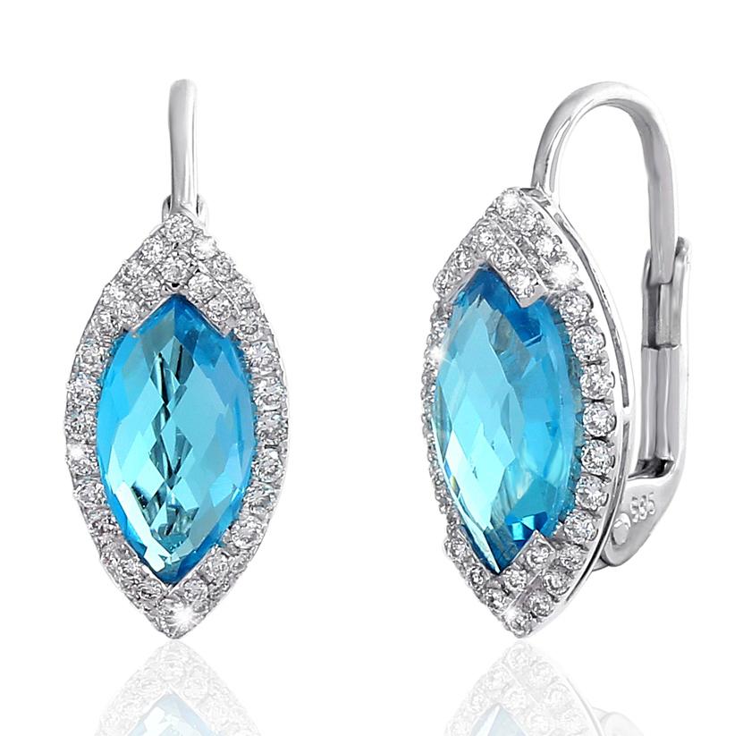 859a069f8 Náušnice s diamanty blue topaz Briline 388-1022